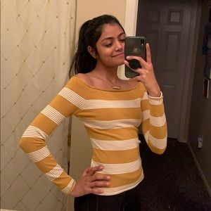 Off Shoulder Yellow Long Sleeve with Stripes